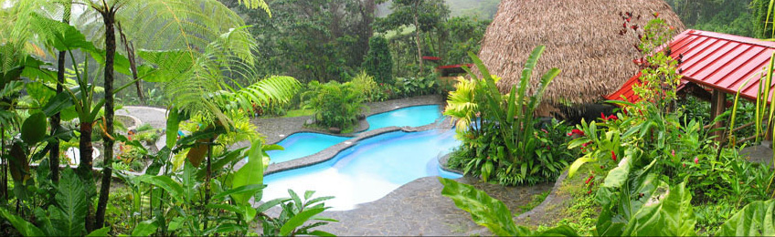 Pool at Lost Iguana Hotel in Arenal, Costa Rica.