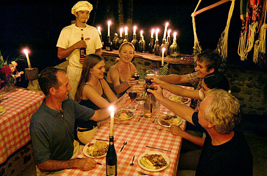 Dinner prepared on the riverbank in Costa Rica.