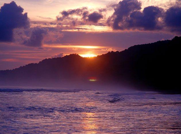 Sunset on the beach at Corcovado