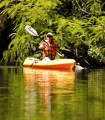 Kayaker on the creeks of Tortuguero, Costa Rica.