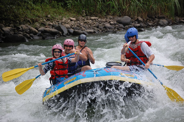 Family rafting trip on the Pacuare River in Costa Rica.