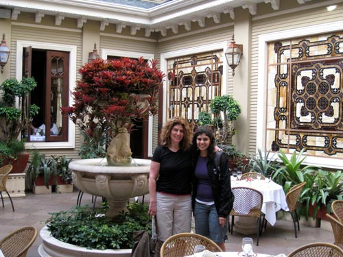 Guest Cathy Meshumar with friend at the Grano de Oro Hotel in San Jose.