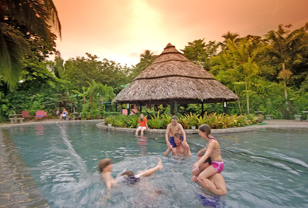 Children enjoy the Tortuga Lodge pool.