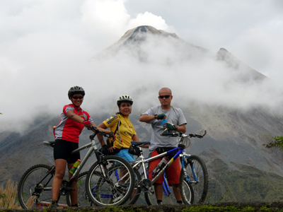 Biking tour in Arenal Volcano National Park.