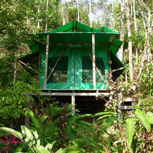 La Luna Lodge tent in Corcovado, Costa Rica.
