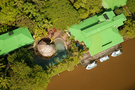 Tortuga Lodge aerial photo.
