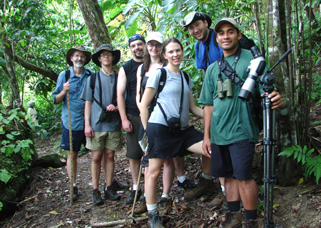 Group hiking tour in the rainforest surrounding Corcovado Lodge.