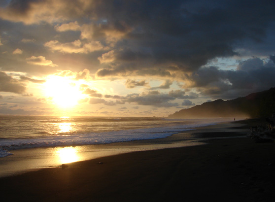 Sunset on the beach at Corcovado on the Osa Peninsula in Costa Rica.