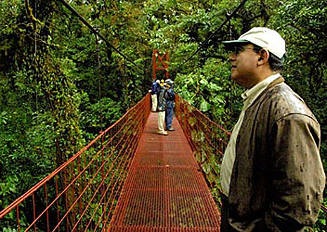 Hiking over a suspension bridge in Monteverde Cloud Forest, Costa Rica.