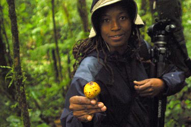 Karla Taylor holds a fig in Monteverde, Costa Rica.