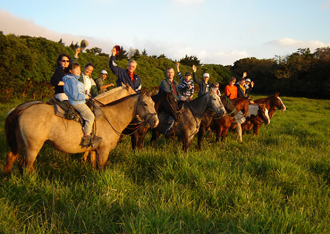 Family horseback ride in Monteverde, Costa Rica.