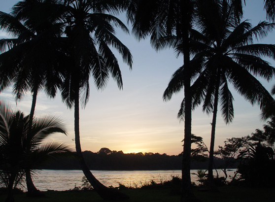Sunset in Tortuguero, Costa Rica.