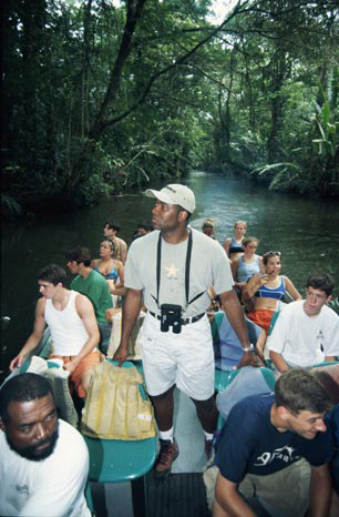 Boat tour on the backwater creeks of Tortuguero National Park.