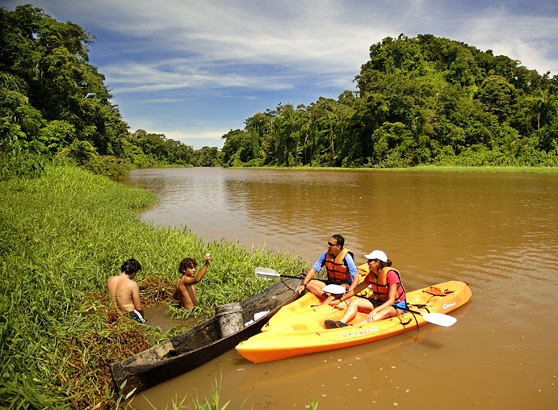 Kayaking the rivers of Tortuguero, Costa Rica.