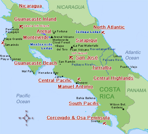 Costa Rica Expeditions - Map of Costa Rica\'s National Parks, Weather ...