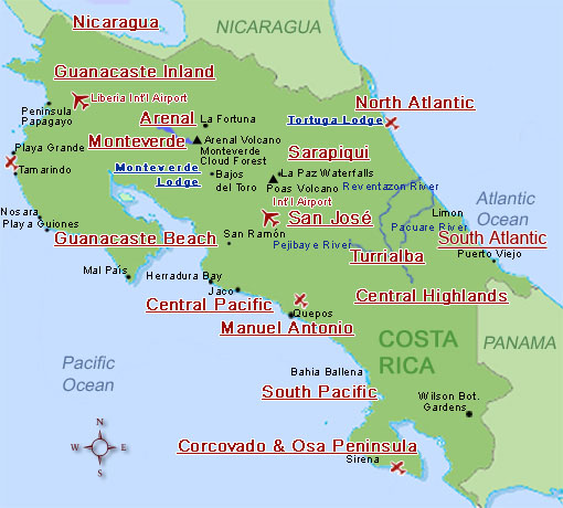 costa rica map, costa rica expeditions