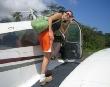 Boarding charter plane